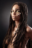Portrait of a naked african american woman with dreadlocks — Foto Stock