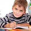 Cute schoolboy is writting — Stok Fotoğraf #12830266