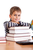 Schoolboy and a heap of books — Stock Photo