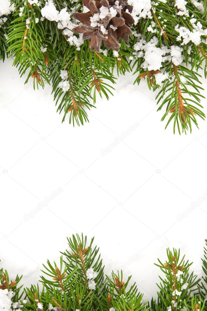 Christmas framework with snow isolated on white background — Stock Photo #13303207