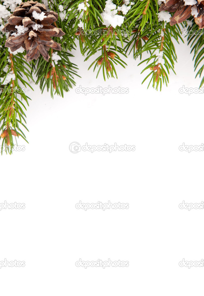 Christmas framework with snow isolated on white background — Stock Photo #13303227