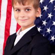 Stock Photo: Portait of Caucasiboy with Americflag