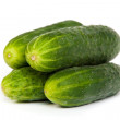 Five Fresh Cucumbers isolated on white — Stock Photo