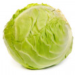 Green cabbage isolated on white — Stock Photo