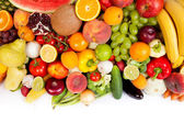 Huge group of fresh vegetables and fruits — Stockfoto