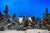 Дом горы в зимнее время — Стоковое фото