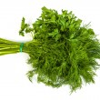 Stock Photo: Fresh branches of green dill and Parsley tied isolated