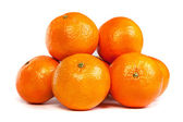 Group of ripe tangerine or mandarin with slices on white — Stock Photo