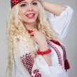 Woman wears Ukrainian national dress — Stock Photo #20214141