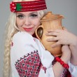 Woman wears Ukrainian national dress — Stock Photo #20214381