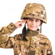 Stock Photo: Saluting soldier. Young boy