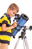 Child Looking Into Telescope on white — Stock Photo