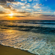 Dubai sea and beach, beautiful sunset at the beach - Stock Photo