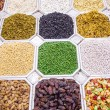 Dried fruit and nuts mix in Dubai market — Stock Photo