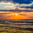 Dubai sea and beach, beautiful sunset at the beach — Stock Photo