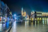 Poland, Krakow. Market Square at night. — Stock Photo