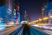 Dubai metro railway in motion blur — Stock Photo