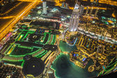 Dubai downtown night scene with city lights, — Stock Photo