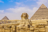 Sphinx en de grote piramide in de egypte — Stockfoto