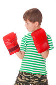 Angry boy pugilist — Stock Photo