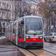 Постер, плакат: Tramway and tram in Vienna Austria