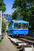 Funicular trains moving on the hill — Stock Photo