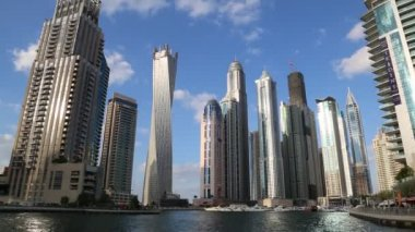 Modern buildings in Dubai Marina, Dubai, UAE — Stock Video