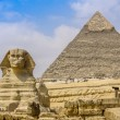 Royalty-Free Stock Photo: Sphinx and the Great Pyramid in the Egypt