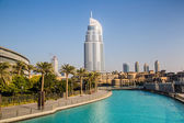 Address Hotel in the downtown Dubai area overlooks the famous da — Stok fotoğraf