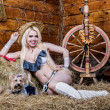 Stock Photo: Young sexy girl in underwear sit in barn with hay