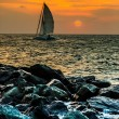 Yacht sailing against sunset. Holiday lifestyle landscape with skyline sailboat and sunset silhouette. — Stock Photo