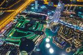 Dubai centrum nachtscène met stadslichten, — Stockfoto