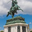 Horse and rider statue of archduke Karl in vienna at the Heldenp — Stock Photo