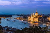 Panorama of Budapest, Hungary, with the Chain Bridge and the Par — Stock Photo