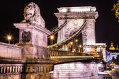 Night view of the famous Chain Bridge in Budapest, Hungary. The — Stock Photo