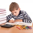 Cute schoolboy is writting — Stock Photo #29547931