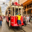 Old red tram in taksim, istanbul, turkey — Stock Photo #31098577