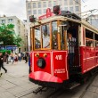 Old red tram in taksim, istanbul, turkey — Stock Photo #31098929