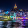View of Istanbul and Galata tower and bridge at night — Stock Photo