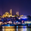 Night view on the restaurants at the end of the Galata bridge, S — Stock Photo