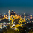 Foto Stock: Evening view of HagiSophiin Istanbul, Turkey