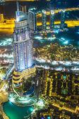 Adresa hotelu v noci v oblasti centra města Dubaj — Stock fotografie
