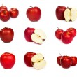 Set of shiny red apples isolated on white — Stock Photo #31898855