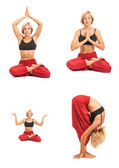 Practicing Yoga. Young woman isolated on white background — Stock Photo