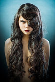 Beautiful Asian woman with long black hair — Stock Photo