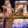 Night view of Chain Bridge in Budapest, Hungary — Stockfoto