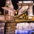 Night view of Chain Bridge in Budapest, Hungary — Stock Photo