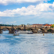 Karlov or charles bridge and river Vltava in Prague — Stockfoto
