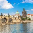 Karlov or charles bridge and river Vltava in Prague  — Stock Photo