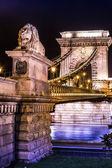 Night view of Chain Bridge in Budapest, Hungary — Stock Photo